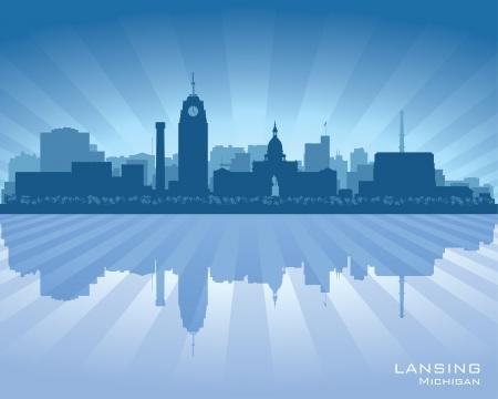 Lansing Michigan city skyline vector silhouette illustration Stock Vector - 22015600