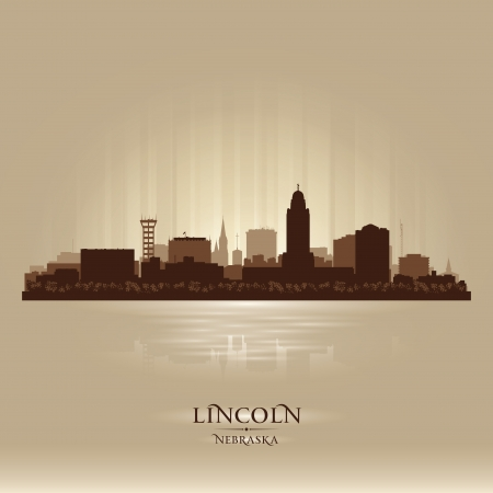 Lincoln Nebraska city skyline vector silhouette illustration Vector