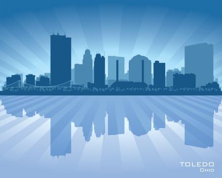 Toledo Ohio city skyline silhouette illustration Stock Vector - 22035166