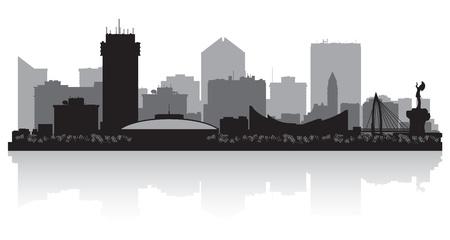 ウィチタ カンザス都市スカイライン シルエット イラスト  イラスト・ベクター素材