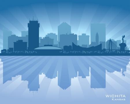Wichita Kansas city skyline silhouette illustration Иллюстрация
