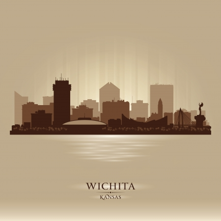Wichita Kansas city skyline vector silhouette illustration Vector