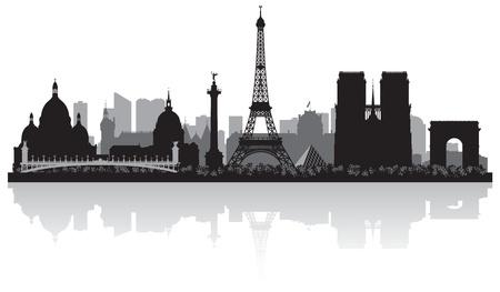 유럽: 프랑스 파리 도시의 스카이 라인 벡터 실루엣 그림 일러스트