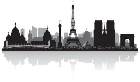 sky scrapers: Paris France city skyline vector silhouette illustration