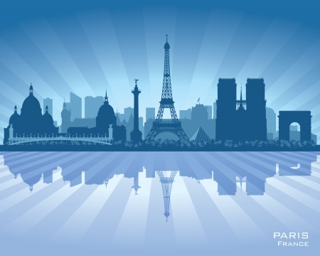 ciudad: Paris Francia horizonte de la ciudad vector silueta ilustración