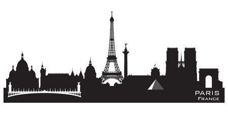 Paris France skyline Detailed vector silhouette