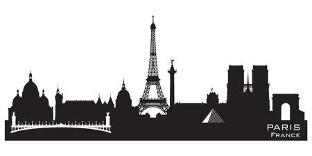 francia: Paris Francia horizonte la silueta del vector detallada
