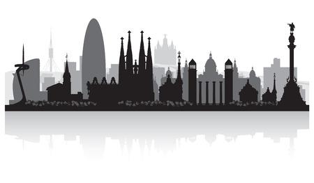 バルセロナ スペイン都市スカイライン ベクトル シルエット イラスト