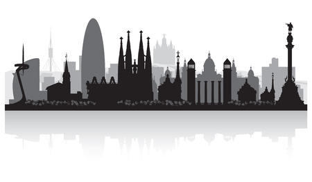 waterfront: Barcelona Spain city skyline vector silhouette illustration
