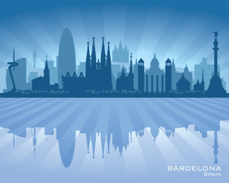 Barcelona Spain city skyline vector silhouette illustration Stock Vector - 22598614