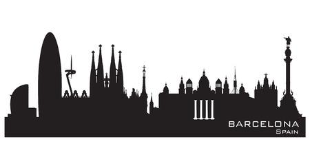 バルセロナ スペイン スカイライン詳細なベクトル シルエット
