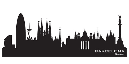 Barcelona Spain skyline Detailed vector silhouette