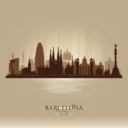 tarjeta postal: Barcelona España horizonte de la ciudad vector silueta ilustración