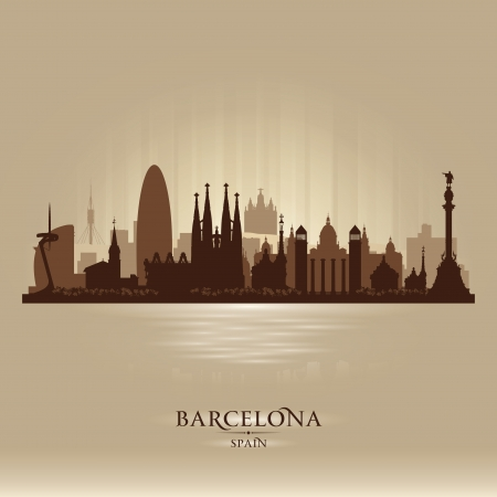 scraper: Barcelona Spain city skyline vector silhouette illustration