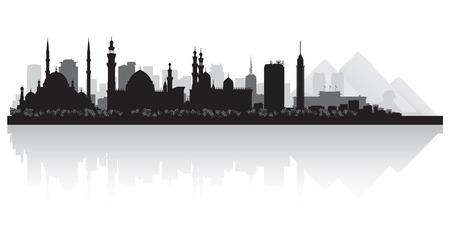 カイロ エジプト都市スカイライン シルエット ベクトル イラスト