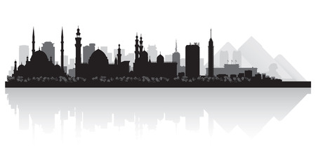 highrise: Cairo Egypt city skyline silhouette vector illustration