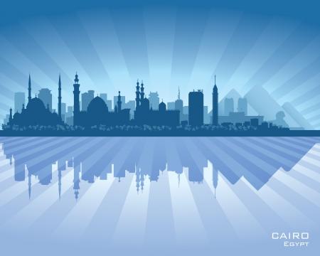 scraper: Cairo Egypt city skyline silhouette Vector illustration
