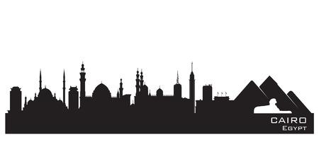 Caire Egypte horizon Vector silhouette illustration détaillée Vecteurs
