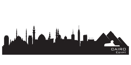egypt: Cairo Egypt skyline Detailed silhouette Vector illustration Illustration