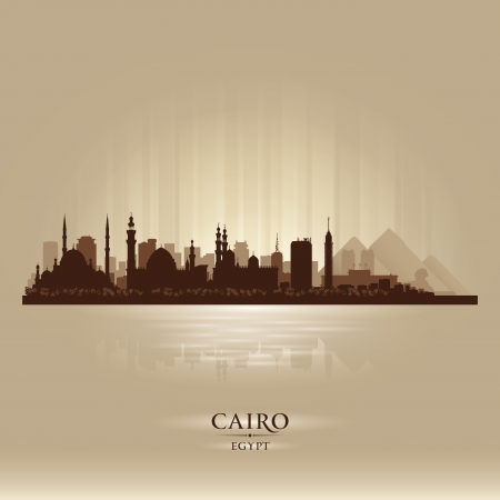 egypt pyramid: Cairo Egypt city skyline silhouette. Vector illustration