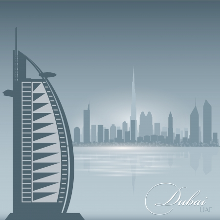 Dubai UAE skyline city silhouette. Vector illustration Background Vector