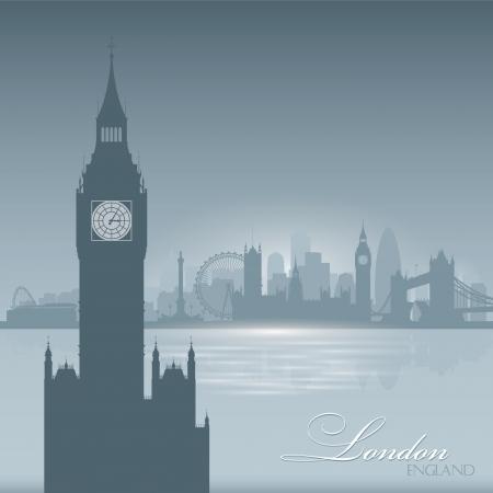 ロンドン イングランド スカイライン市シルエット ベクトル イラスト背景