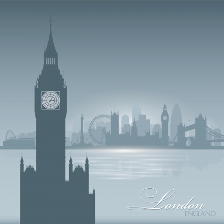 London England skyline city silhouette Vector illustration Background Vector