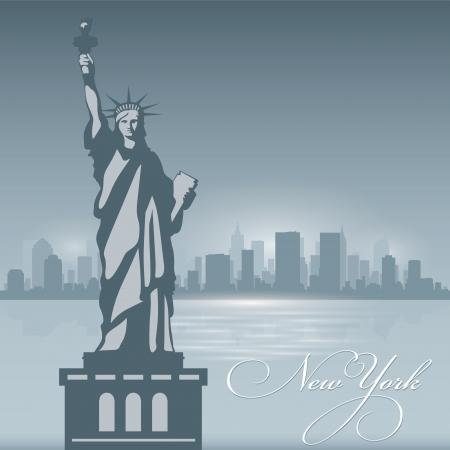 ニューヨークのスカイラインの都市のシルエット。ベクトル イラスト背景