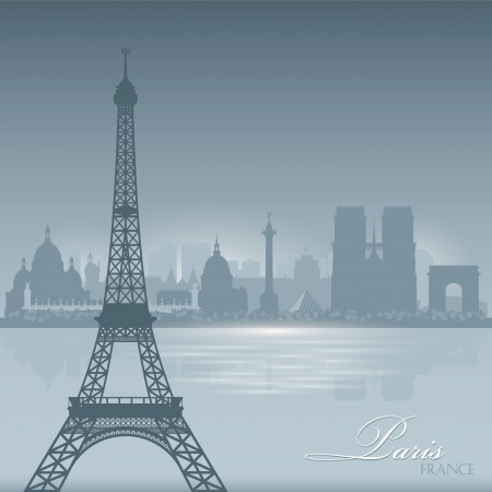 Paris France skyline city silhouette Vector illustration Background Vector