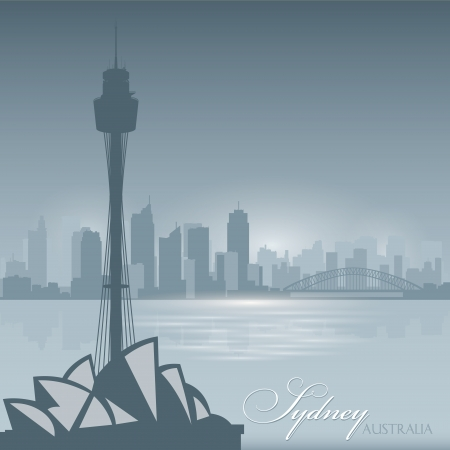Sydney Australia skyline city silhouette Vector illustration Background Vector