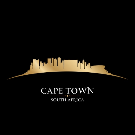 south coast: Cape Town South Africa city skyline silhouette. Vector illustration