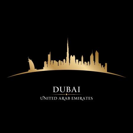 emirates: Dubai UAE city skyline silhouette. Vector illustration