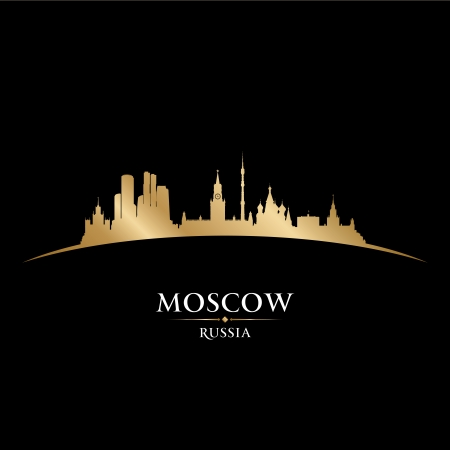 gold coast: Moscow Russia city skyline silhouette. Vector illustration