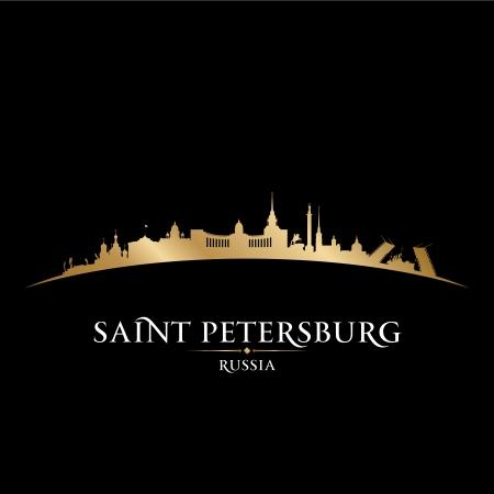 saint petersburg: Saint Petersburg Russia city skyline silhouette. Vector illustration
