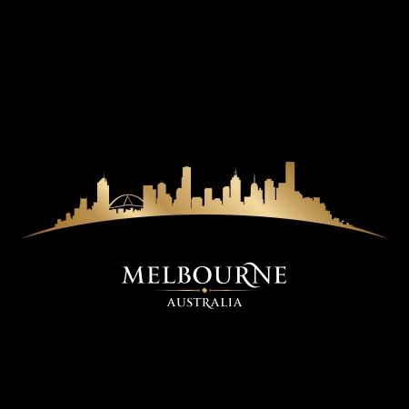 Австралия: Мельбурн город небоскребов силуэт. Векторная иллюстрация