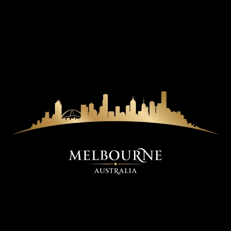 メルボルン オーストラリア都市スカイライン シルエット。ベクトル イラスト