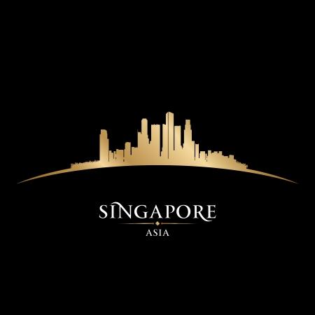 シンガポールのアジア都市スカイライン シルエット。ベクトル イラスト  イラスト・ベクター素材