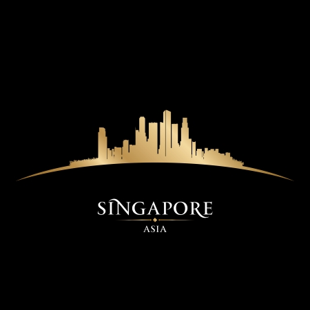 skyscrapers: Singapore Asia city skyline silhouette. Vector illustration