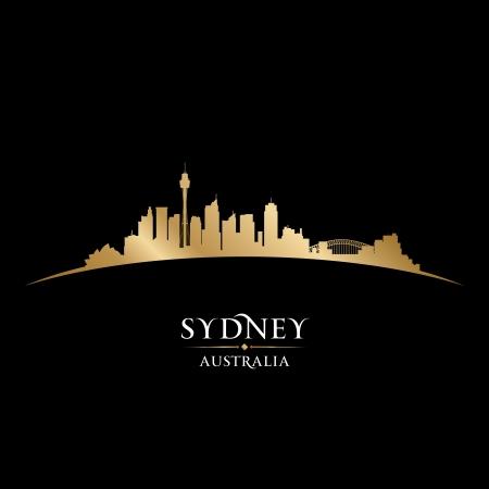 Австралия: Город Сидней Австралия горизонта силуэт. Векторное изображение