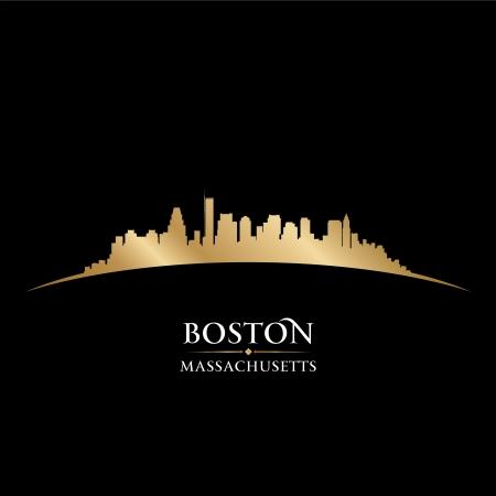 マサチューセッツ州のボストン市のスカイラインのシルエット。ベクトル イラスト