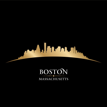 Boston Massachusetts city skyline silhouette. Vector illustration Vector