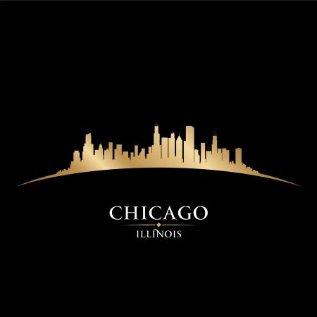イリノイ州シカゴ市のスカイラインのシルエット。ベクトル イラスト  イラスト・ベクター素材