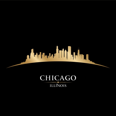 usa cityscape: Chicago Illinois city skyline silhouette. Vector illustration