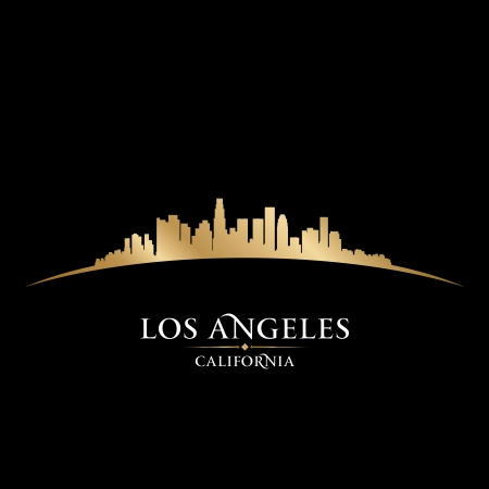 city square: Los Angeles California city skyline silhouette. Vector illustration