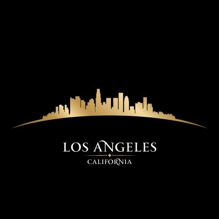 coast: Los Angeles California city skyline silhouette. Vector illustration
