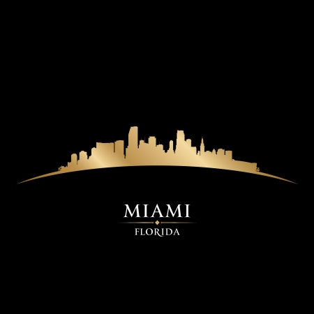 miami sunset: Miami Florida city skyline silhouette. Vector illustration Illustration