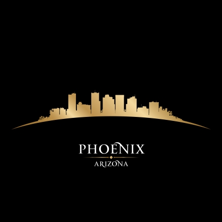 arizona sunset: Phoenix Arizona city skyline silhouette. Vector illustration