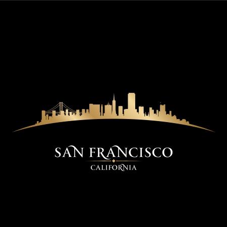 샌프란시스코 캘리포니아 도시의 스카이 라인의 실루엣. 벡터 일러스트 레이 션 일러스트