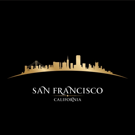 San Francisco California city skyline silhouette. Vector illustration