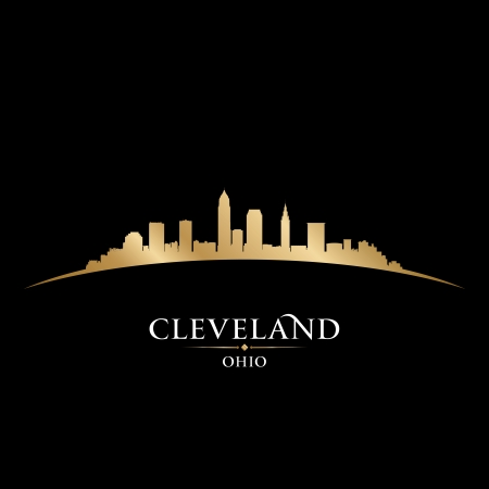 Cleveland Ohio city skyline silhouette  Vector illustration Illustration